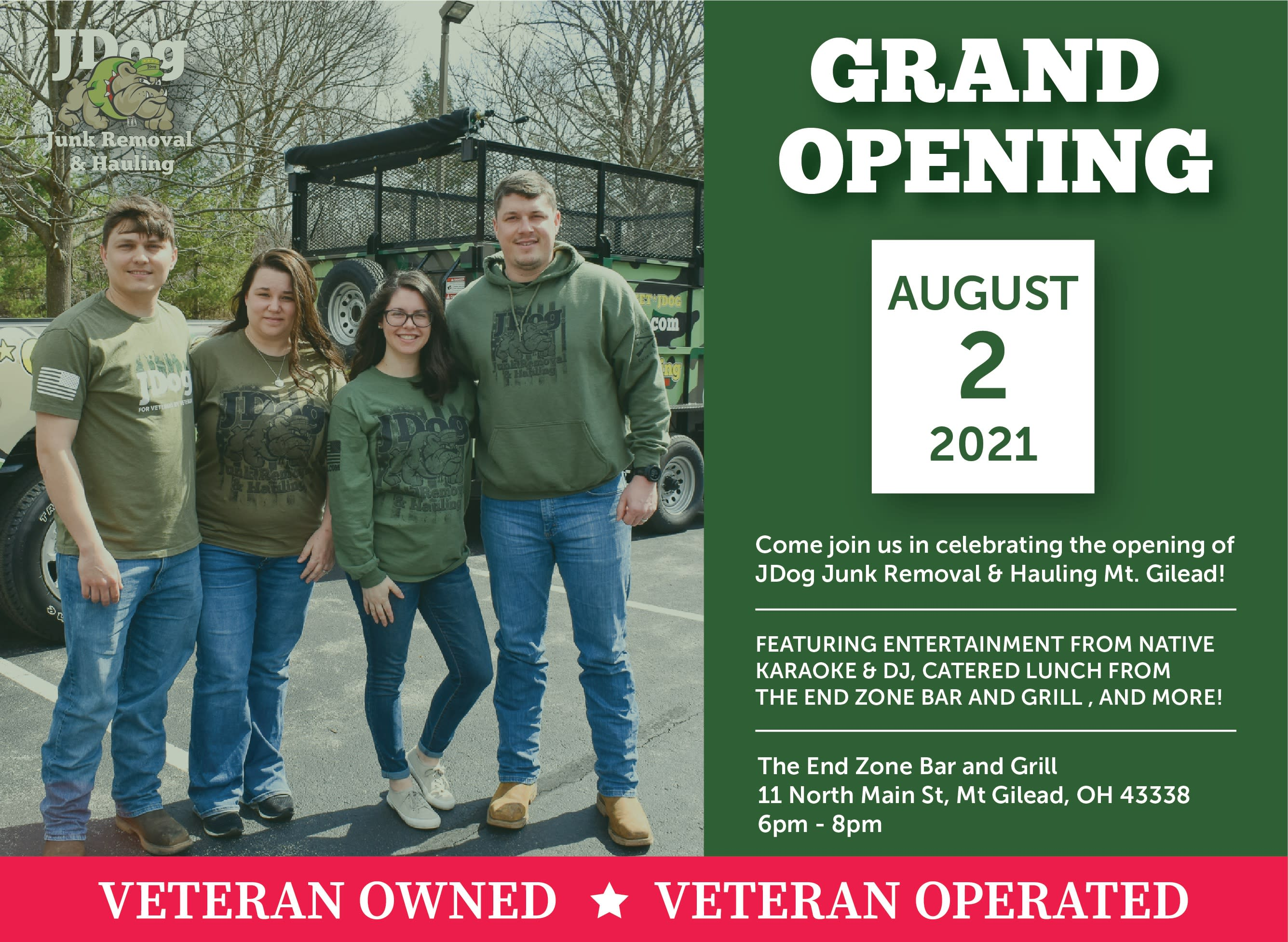 Grand Opening JDog Junk Removal and Hauling Mt Gilead August 2 2021 at 6 PM