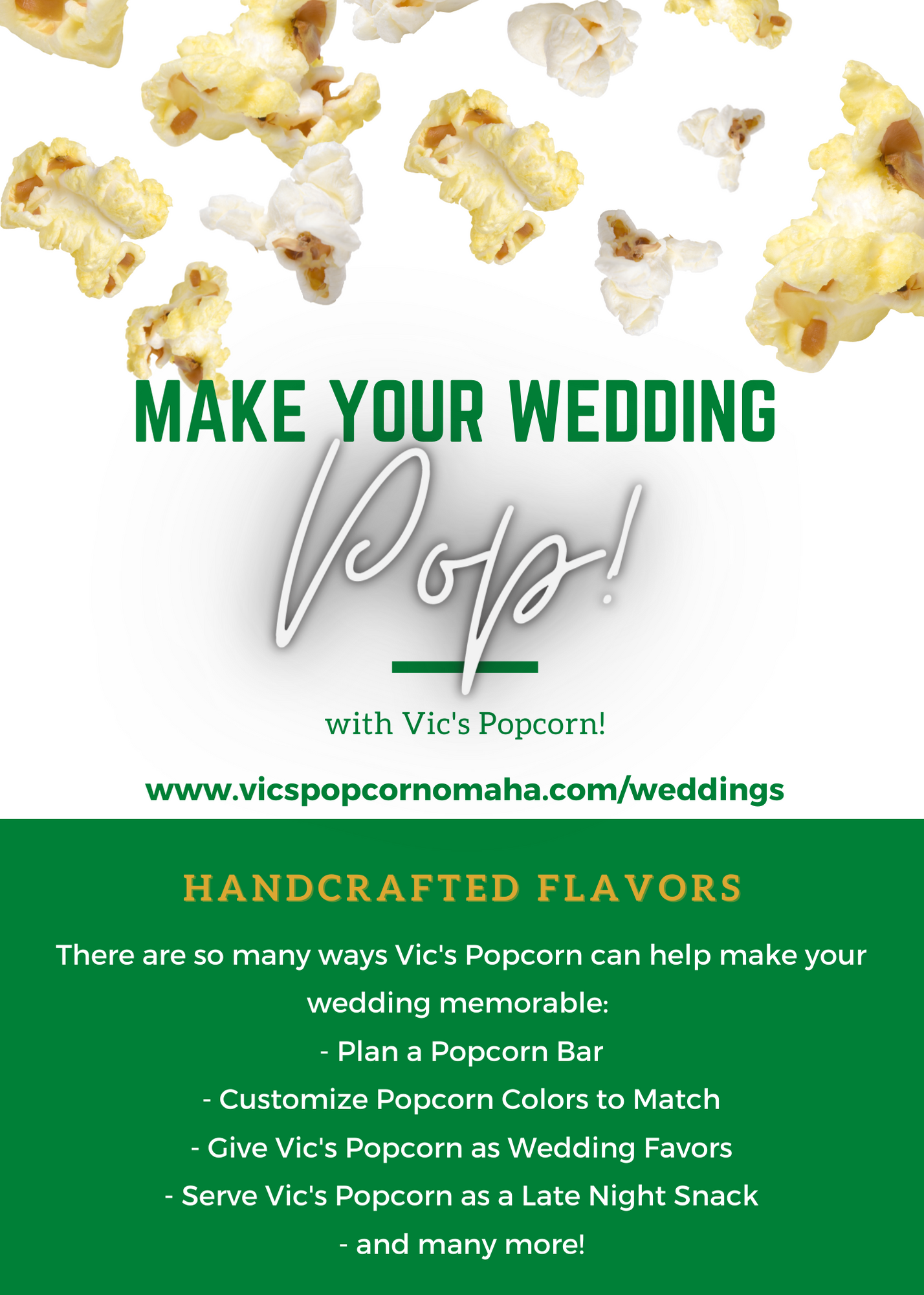 Make your wedding POP with Vic's Popcorn