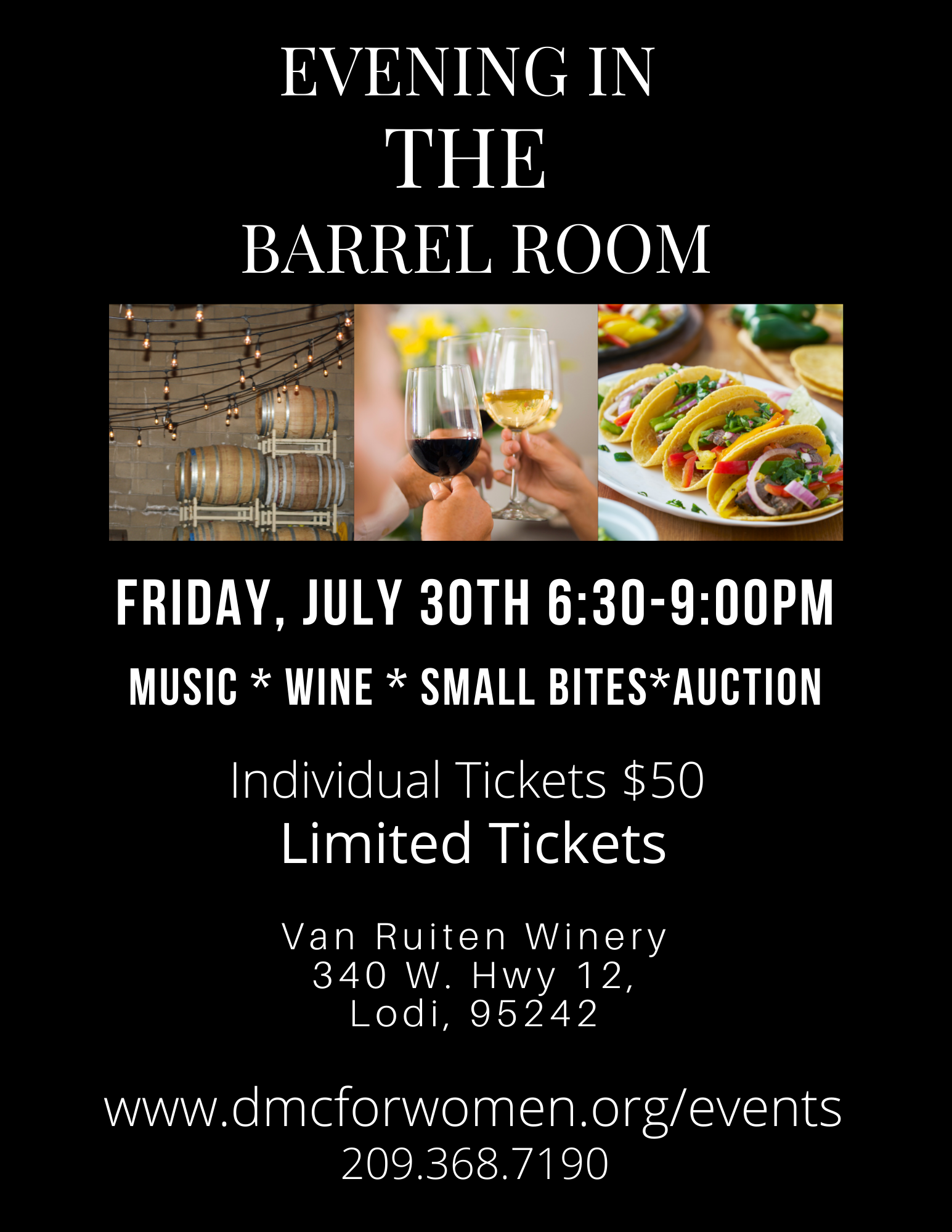 Evening in the Barrel Room flyer: fundraiser for Directions Medical Clinic - July 30, 2021, 6:30 - 9:00 pm