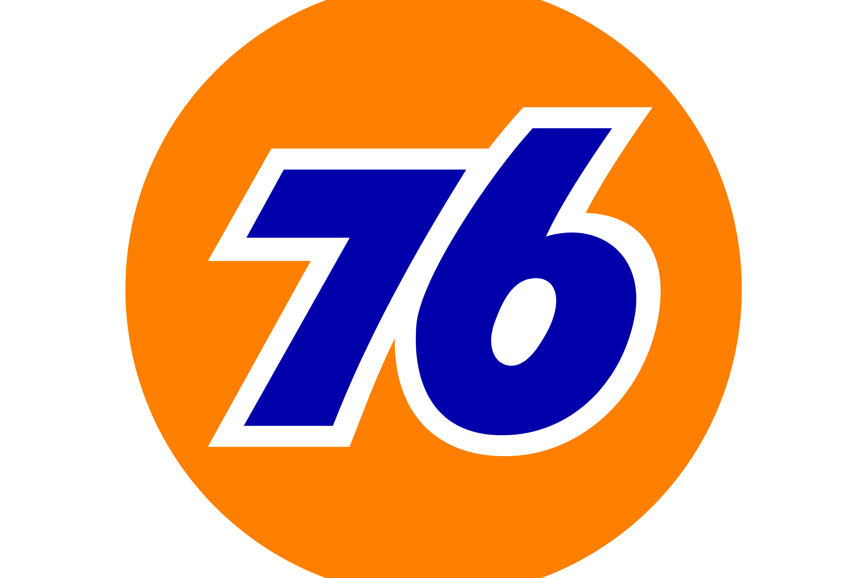 """Orange Cirle with """"76"""" in the center in blue text with white outline. 76 Gas Station logo"""