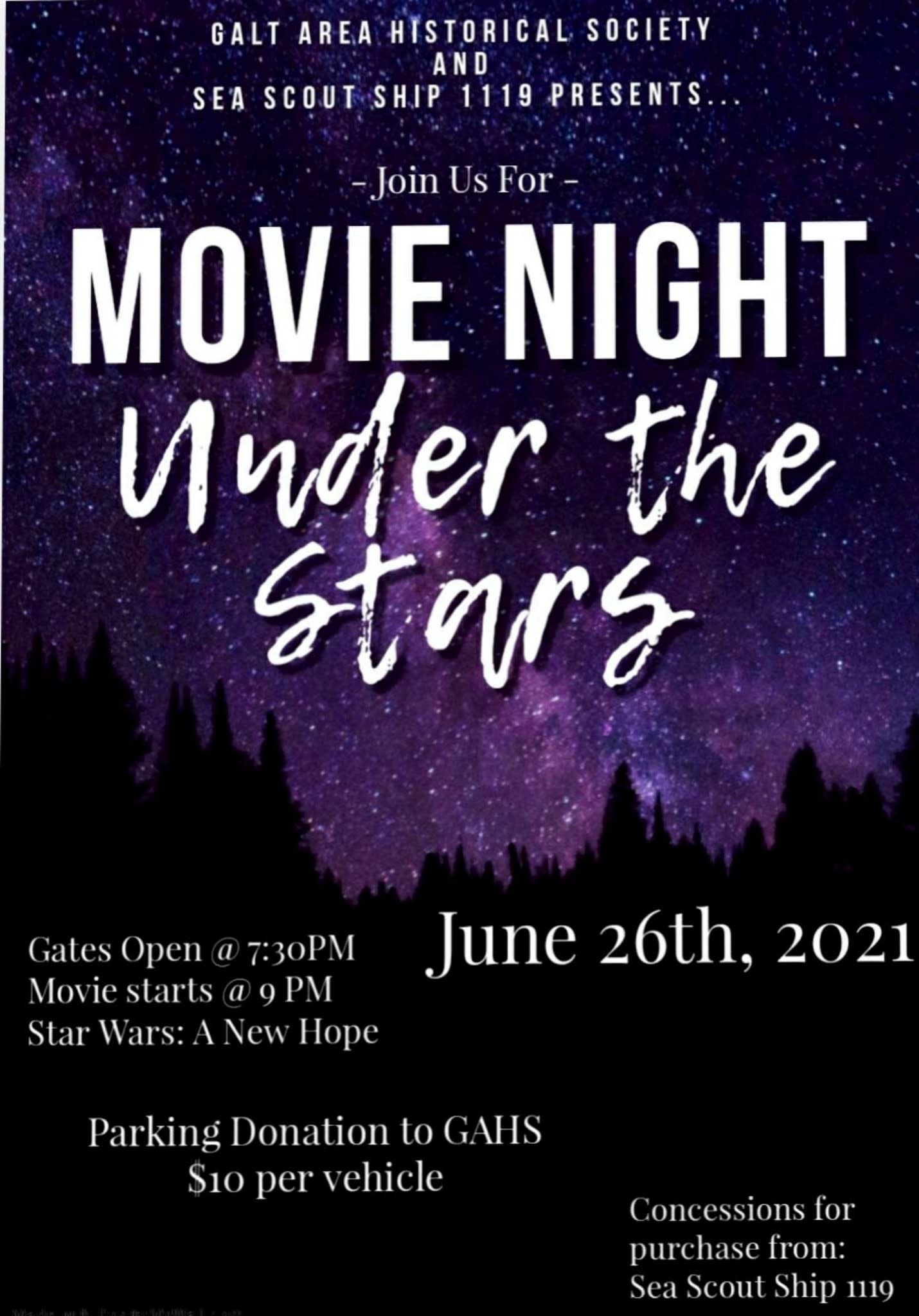 Movie Night Under the Stars flyer - June 26, 2021