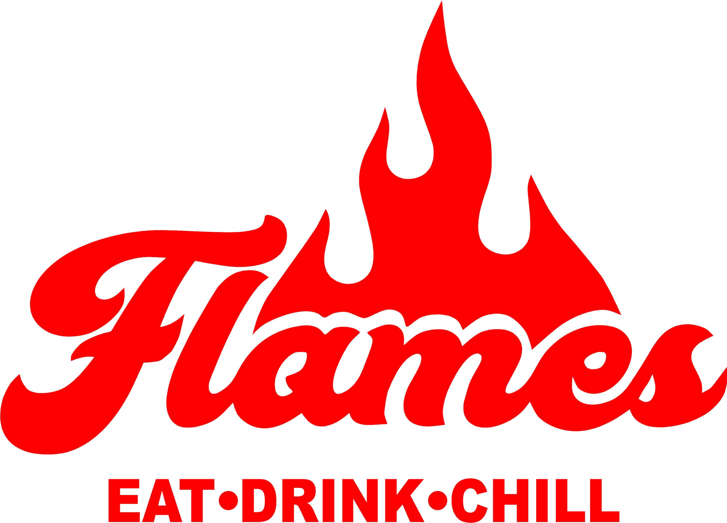"Flames Restaurant Logo ""Eat. Drink. Chill."""