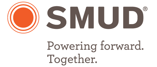 """SMUD's logo """"Powering forward. Together."""""""