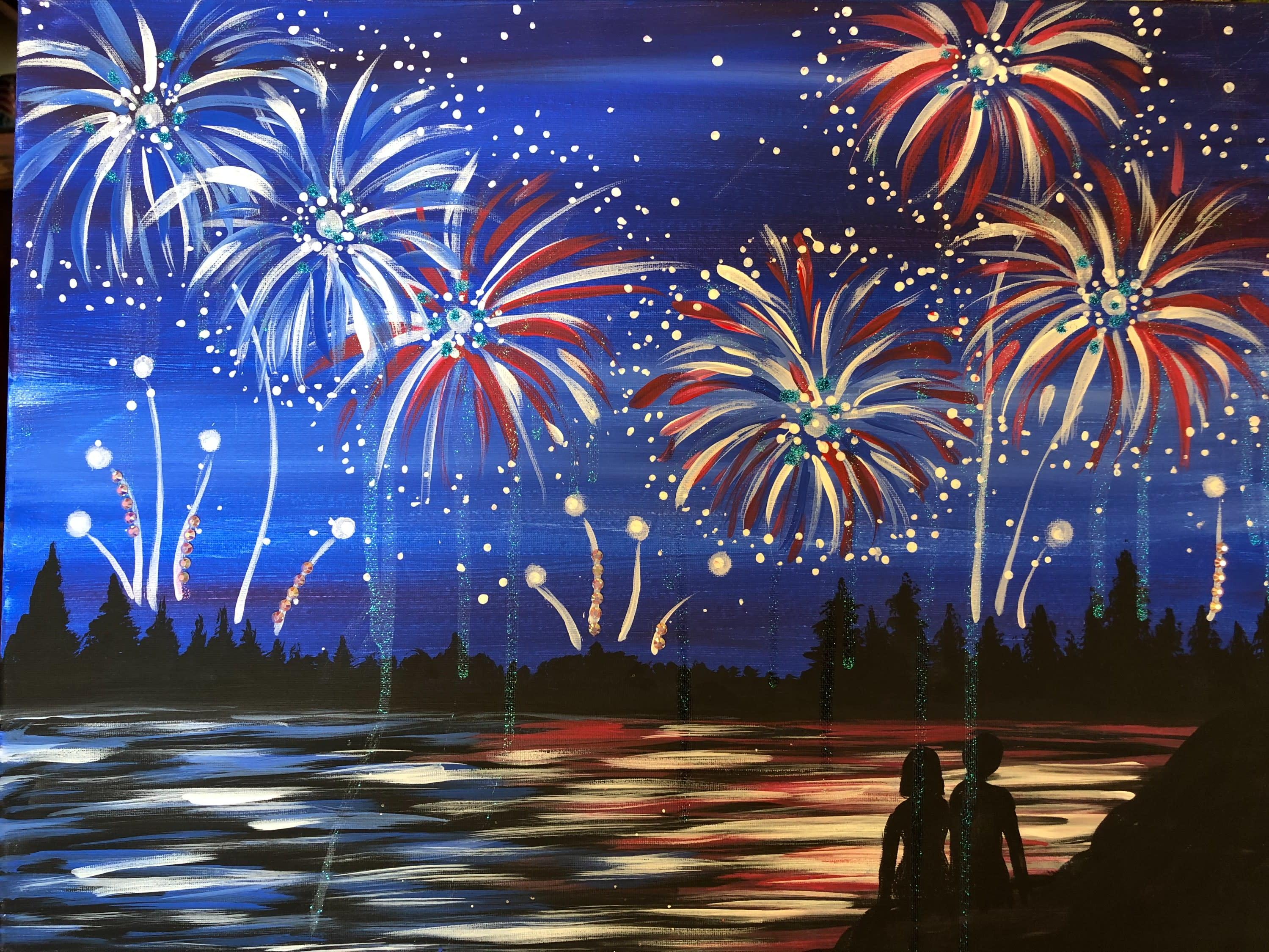 4th of July (or patriotic) painting of fireworks, a lake, trees & and the shadow of a woman & man