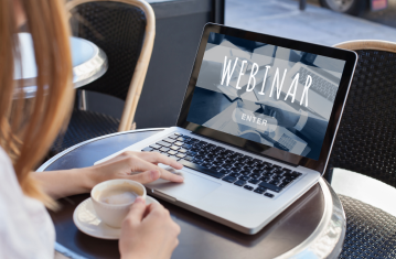 Image of a woman on a webinar