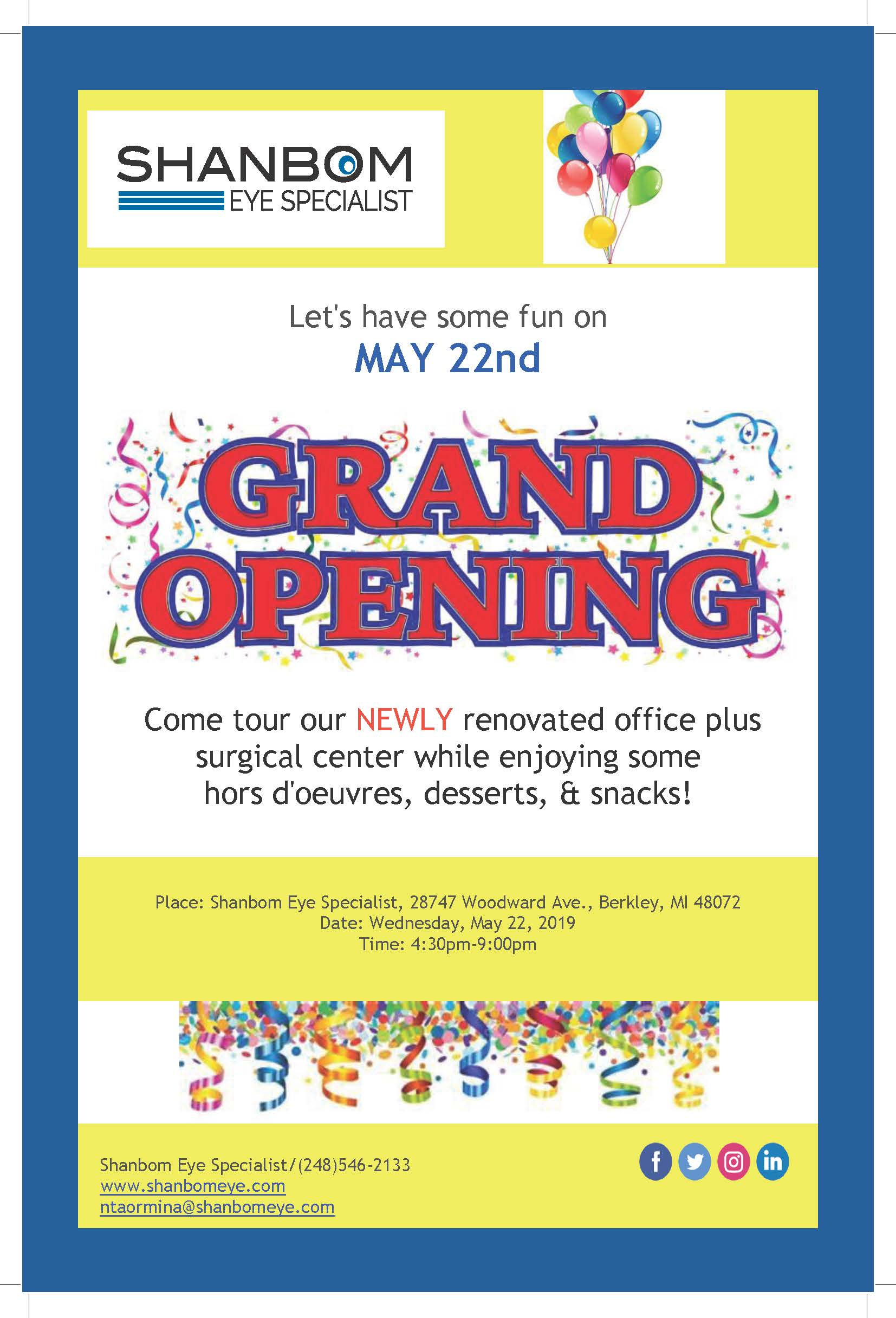 Shanbom Eye Specialist - Grand Opening