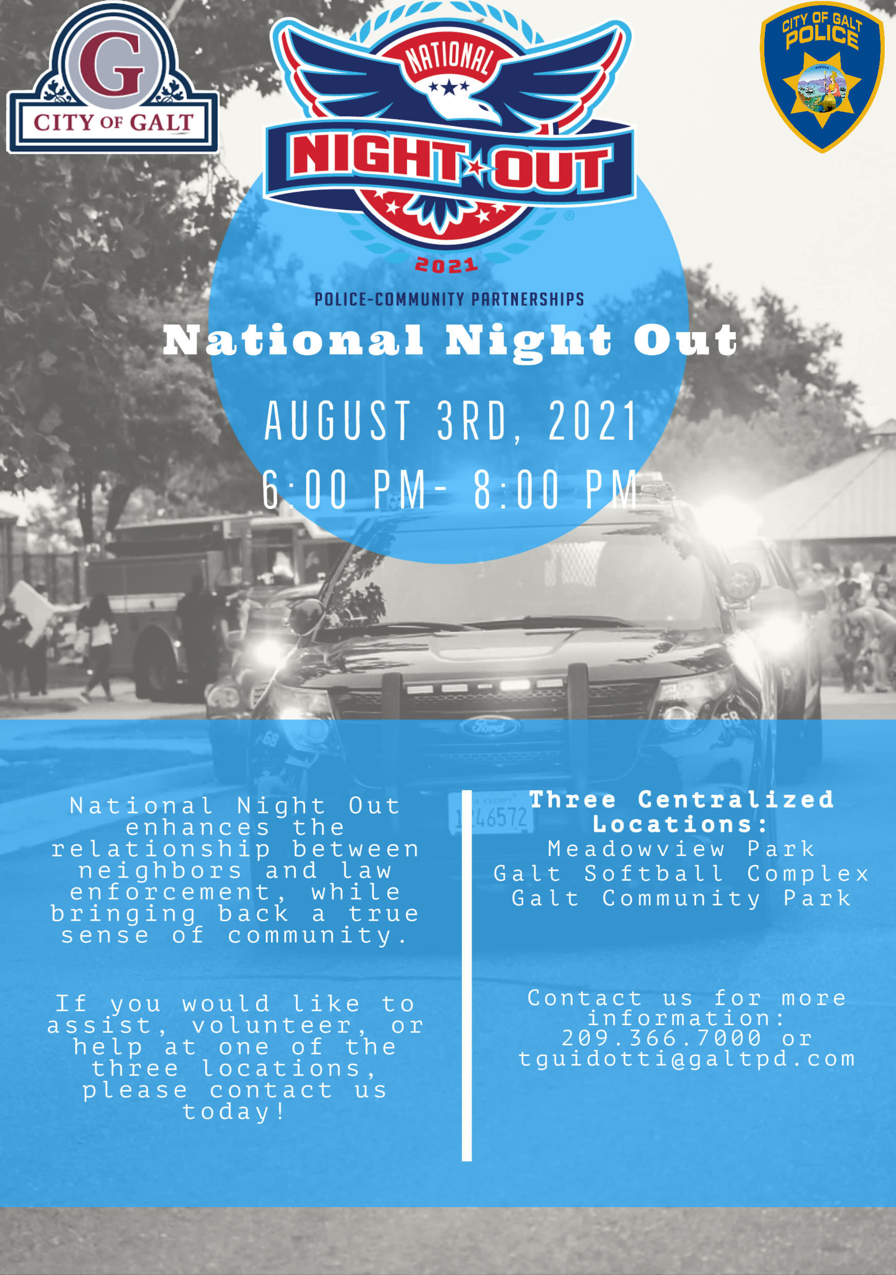 National Night Out flyer - August 3, 2021 from 6:00 pm to 8:00 pm