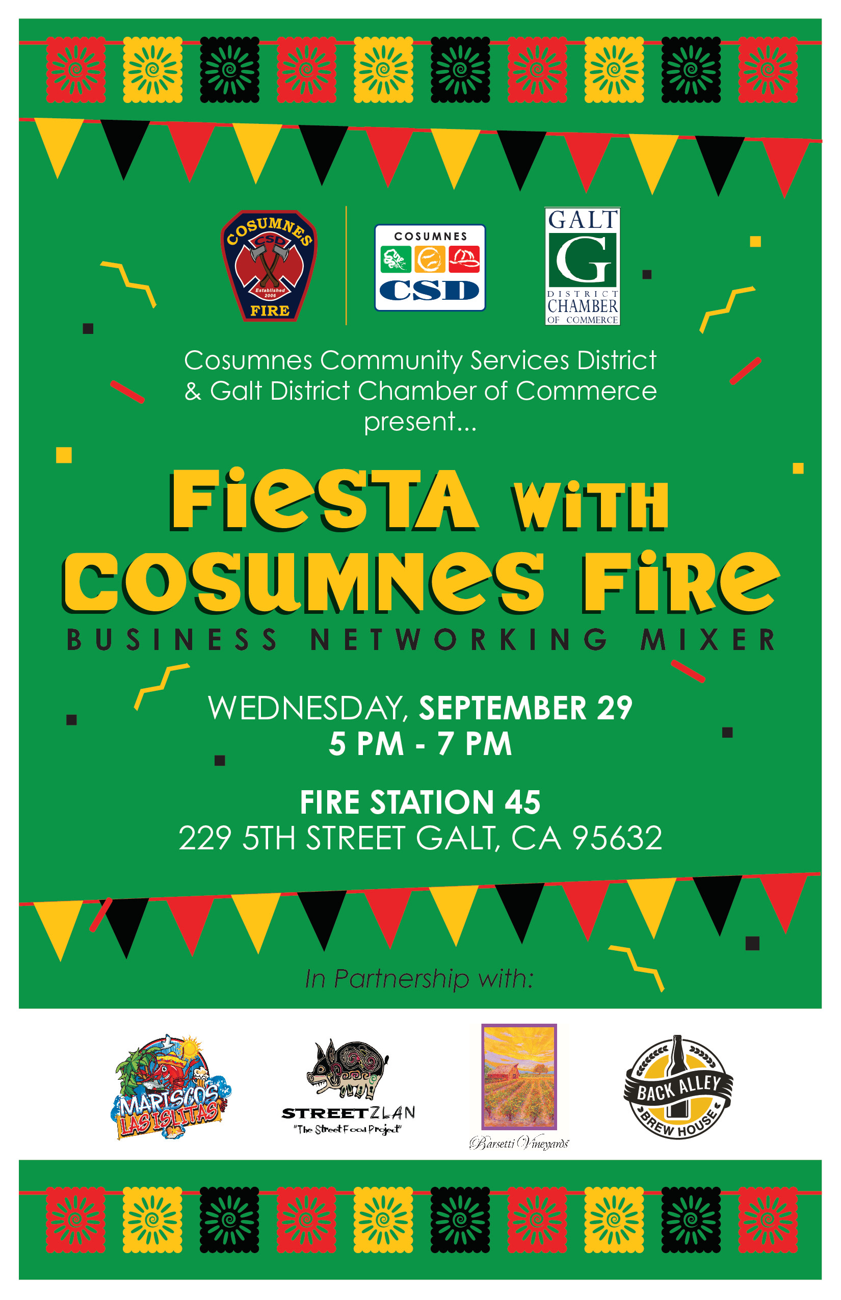 Fiesta with Cosumnes Fire Business Networking Mixer flyer, Wed., 09/29/21, 5-7pm, 229 5th St, Galt