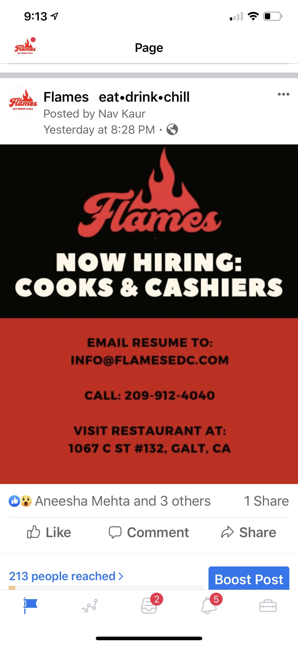 "Photo of Flames ""Now Hiring Cooks & Cashiers"" Facebook post"