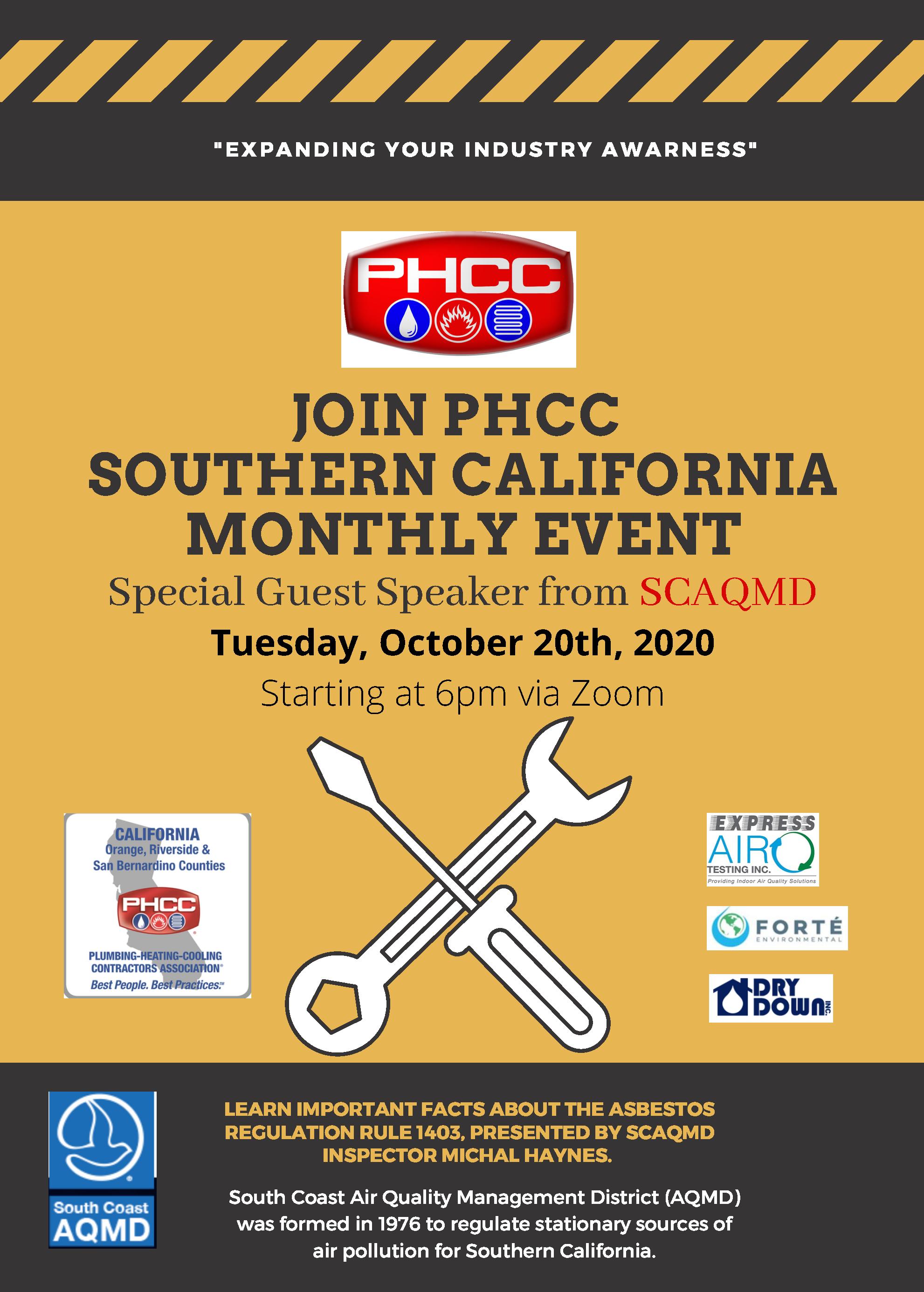 PHCC Southern California Member Meeting October 2020