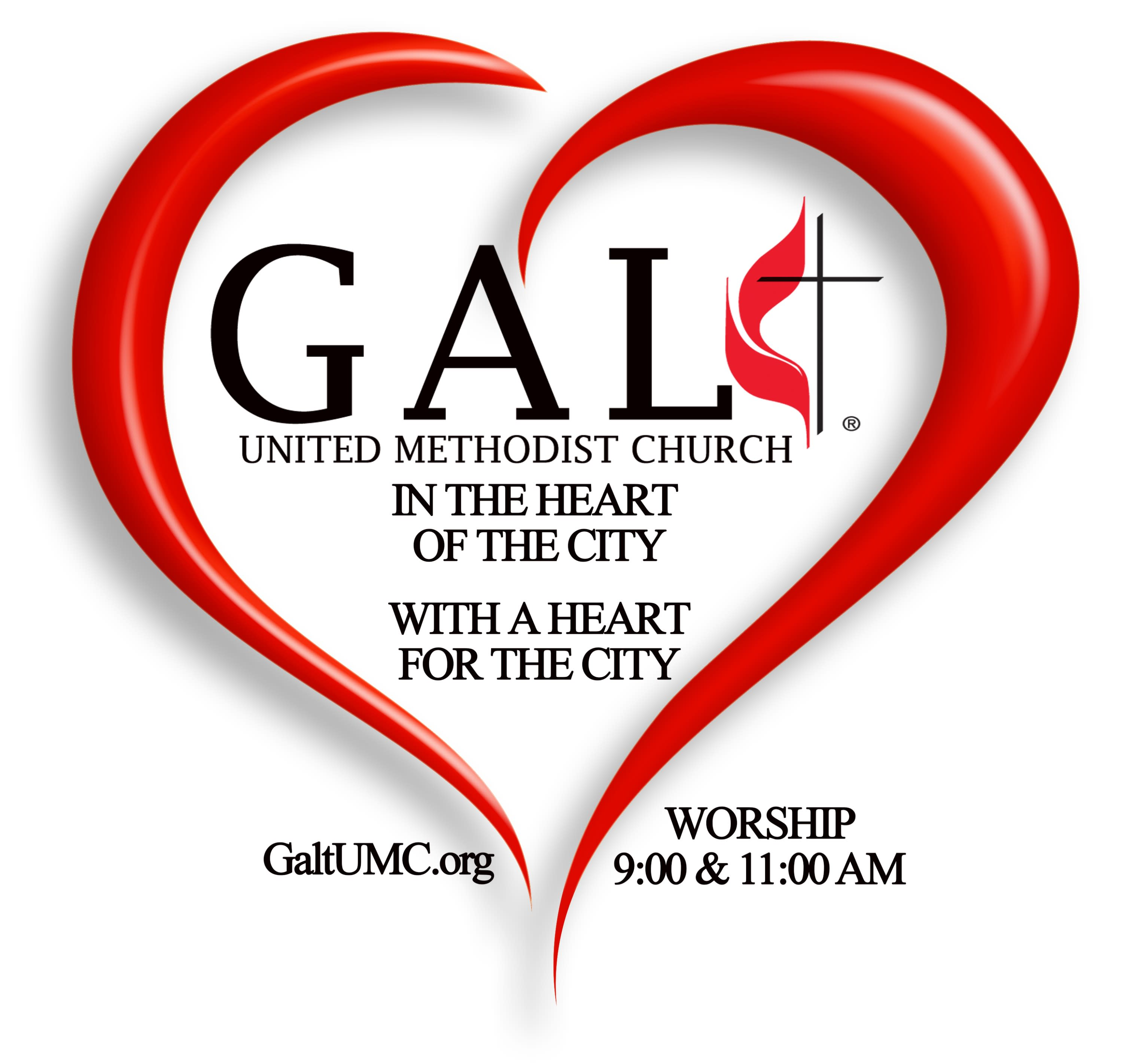 Galt United Methodist Church in the Heart of the City With a Heart for the City Logo - new June 29 2021
