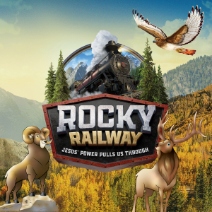 A logo with a train coming out of the mountains that says Rocky Railway: surrounded by a mountain goat, moose, and hawk