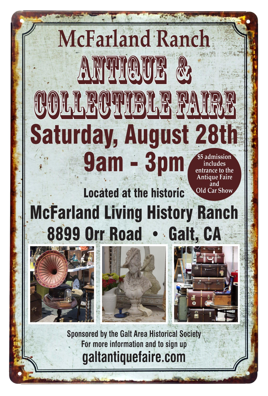 McFarland Ranch Antique & Collectible Faire flyer - August 28, 2021