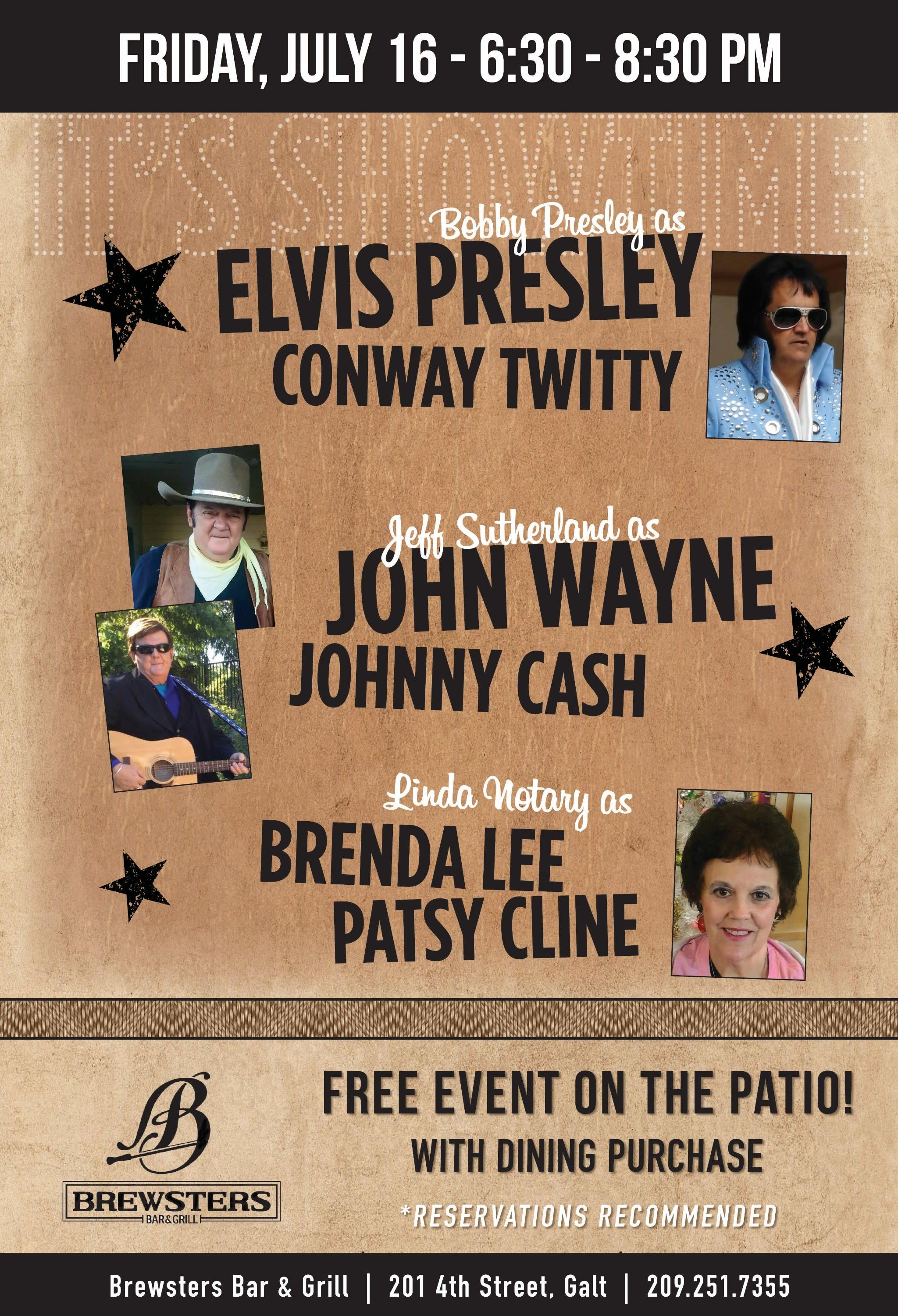 Live event flyer for performances (impersonations) of Elvis Presley, Johnny Cash & Patsy Cline) at Brewsters on 07/16/21