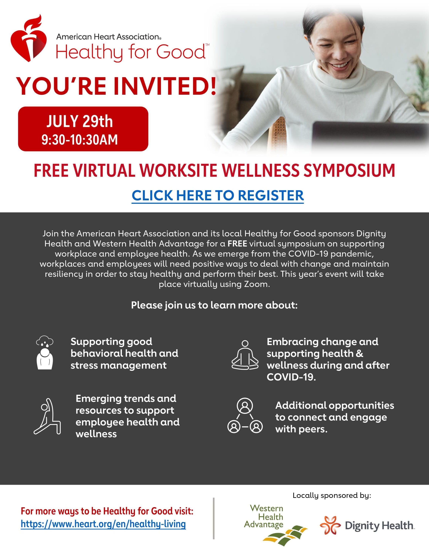 Worksite Wellness Symposium 2021 Flyer Sponsored by Western Health Advantage