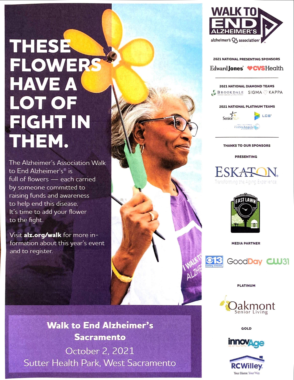 Walk to End Alzheimers flyer. October 2, 2021 at Sutter Health Park, West Sacramento