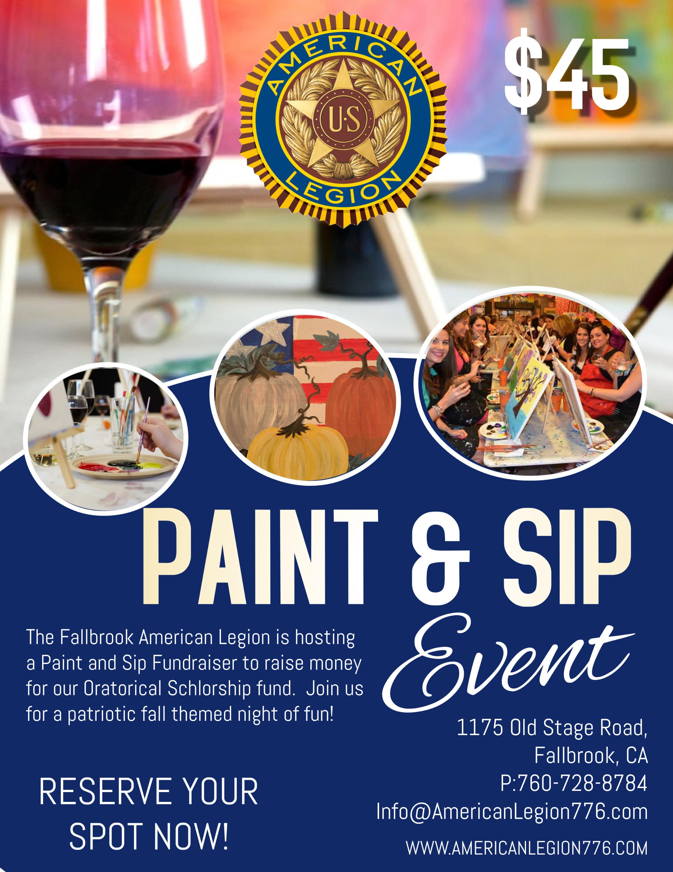 American Legion Paint & Sip Fundraiser OCT 9th