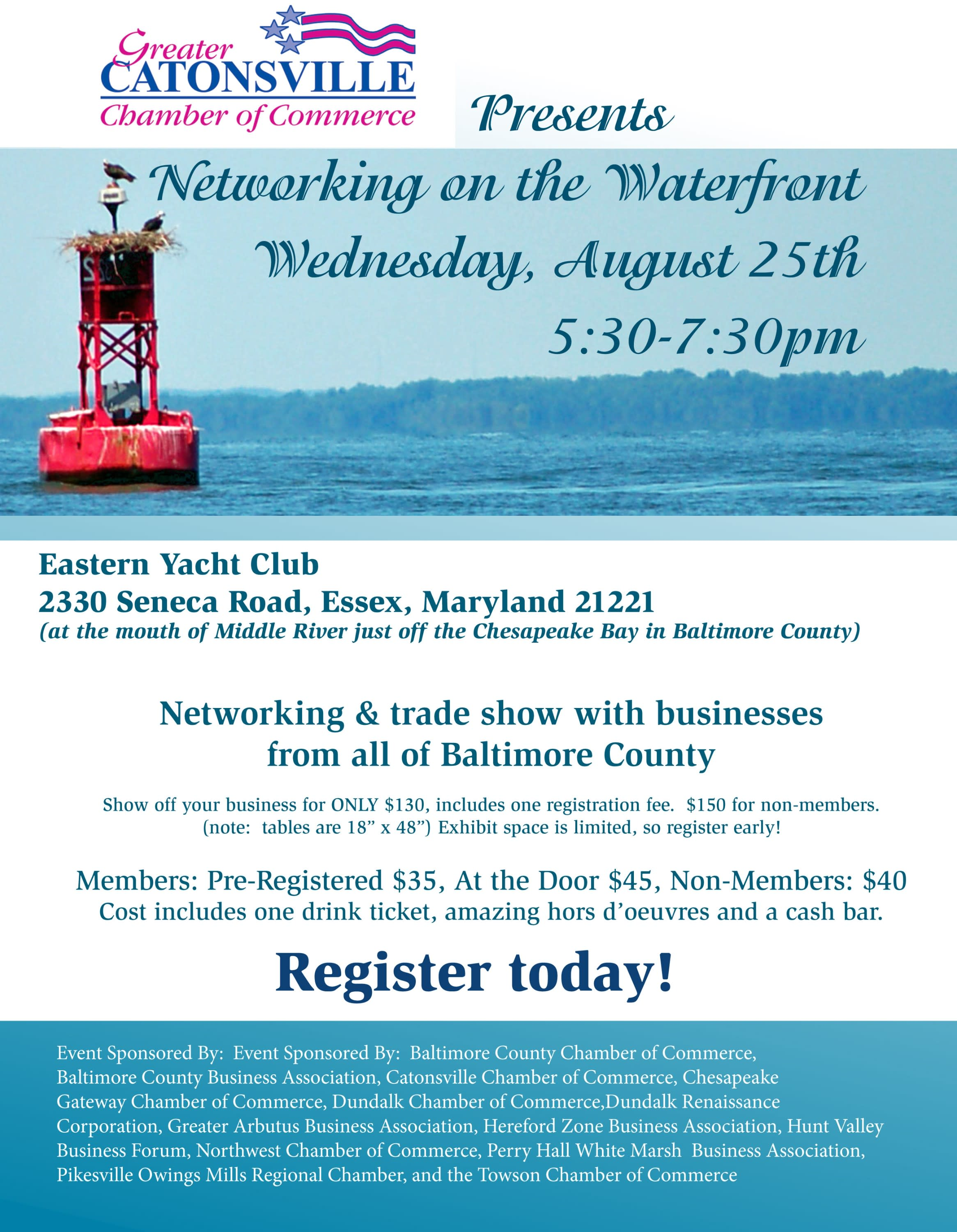 IN PERSON EVENT - Networking on the Waterfront (Balto. Metro) @ Eastern Yacht Club | Pikesville | Maryland | United States