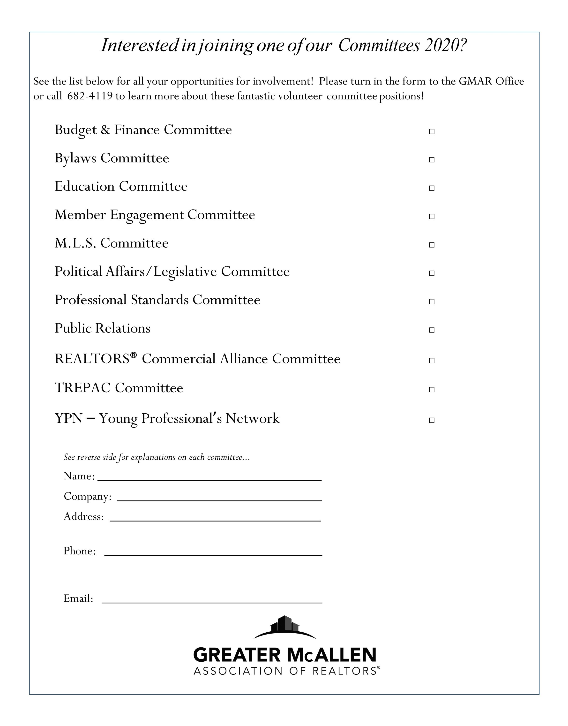 Join a committee! 2020 Greater McAllen Association of REALTORS® Committee Forms now available!