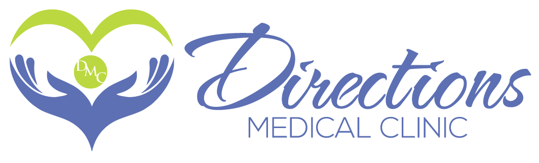Directions Medical Clinic logo w/blue hands with green lines in the shape of a heart