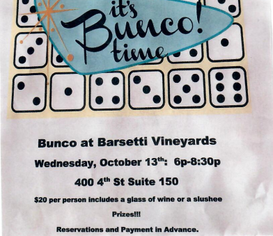 Wednesday, October 13th 6:00 pm - 8:30 pm  400 4th Street, Suite 150 Galt, CA 95632  $20 per person includes a glass  of wine