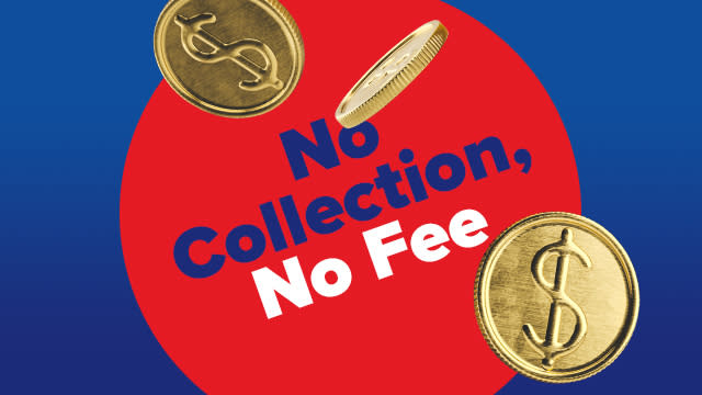 Coins floating around text, no collection, no fee.