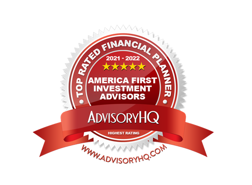 Badge from AdvisoryHQ naming America First Investment Advisors a Top Rated Financial Advisor in Omaha for 2021-2022