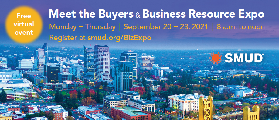 SMUD's Meet the Buyers & Business Resource Expo flyer; Sept 20-23, 2021 from 8 am to noon