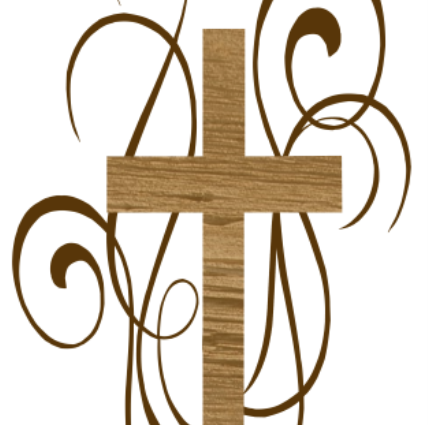 First Baptist Church logo, wooden cross with curly designs around it - May 4 2021