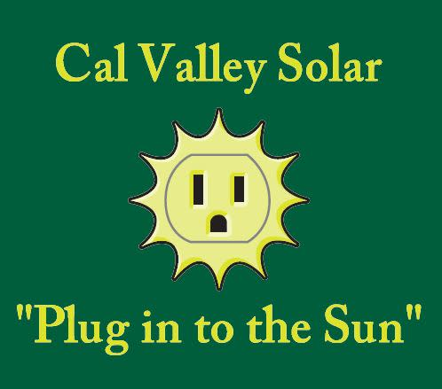 "Cal Valley Solar Logo ""Plug in to the Sun"" with a cartoon image of a sun around a light socket"