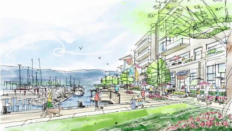 An artist's rendering of the preliminary vision for the Somass lands in Port Alberni. PWL PARTNERSHIP