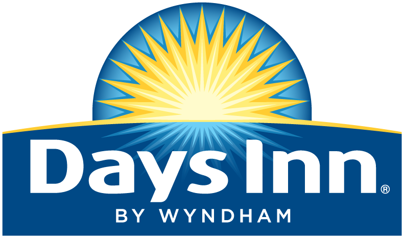 Days Inn by Wyndham logo; blue with a yellow sun and white writing