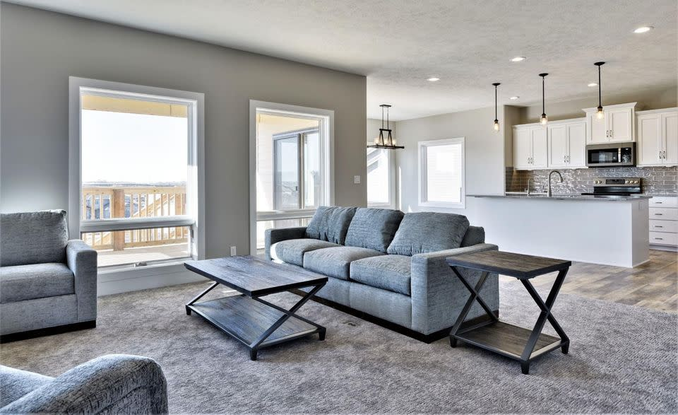 Mercury Builders   Bright open concept living room and kitchen
