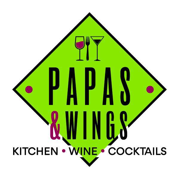 """Papas & Wings """"Kitchen.Wine.Cocktails"""" logo"""