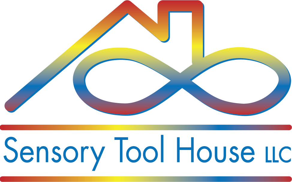 rainbow color gradient house with infinity sign logo