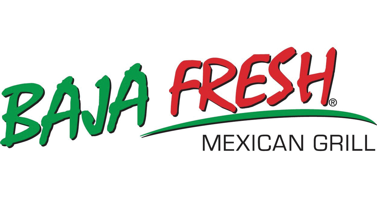 Baja Fresh Mexican Grill logo, all caps, BAJA in Green, FRESH in red w/green underline, rest in black
