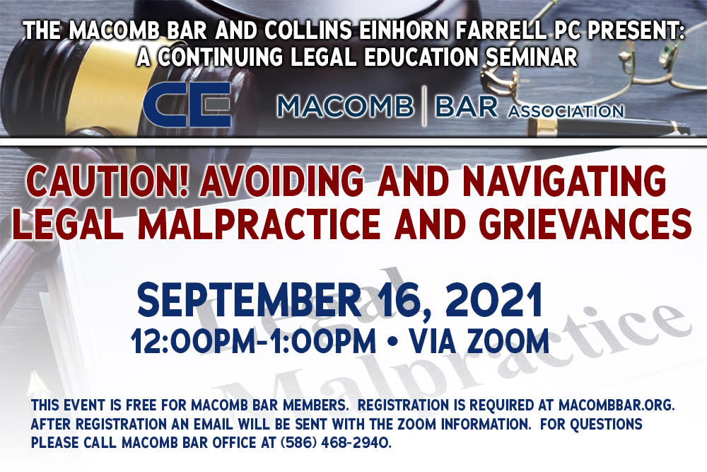 Macomb Bar Seminar - Legal Malpractice and Grievances