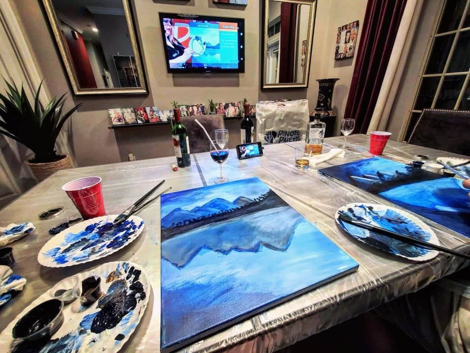Paint at home with a pinot's palette kit and a link to a live virtual class