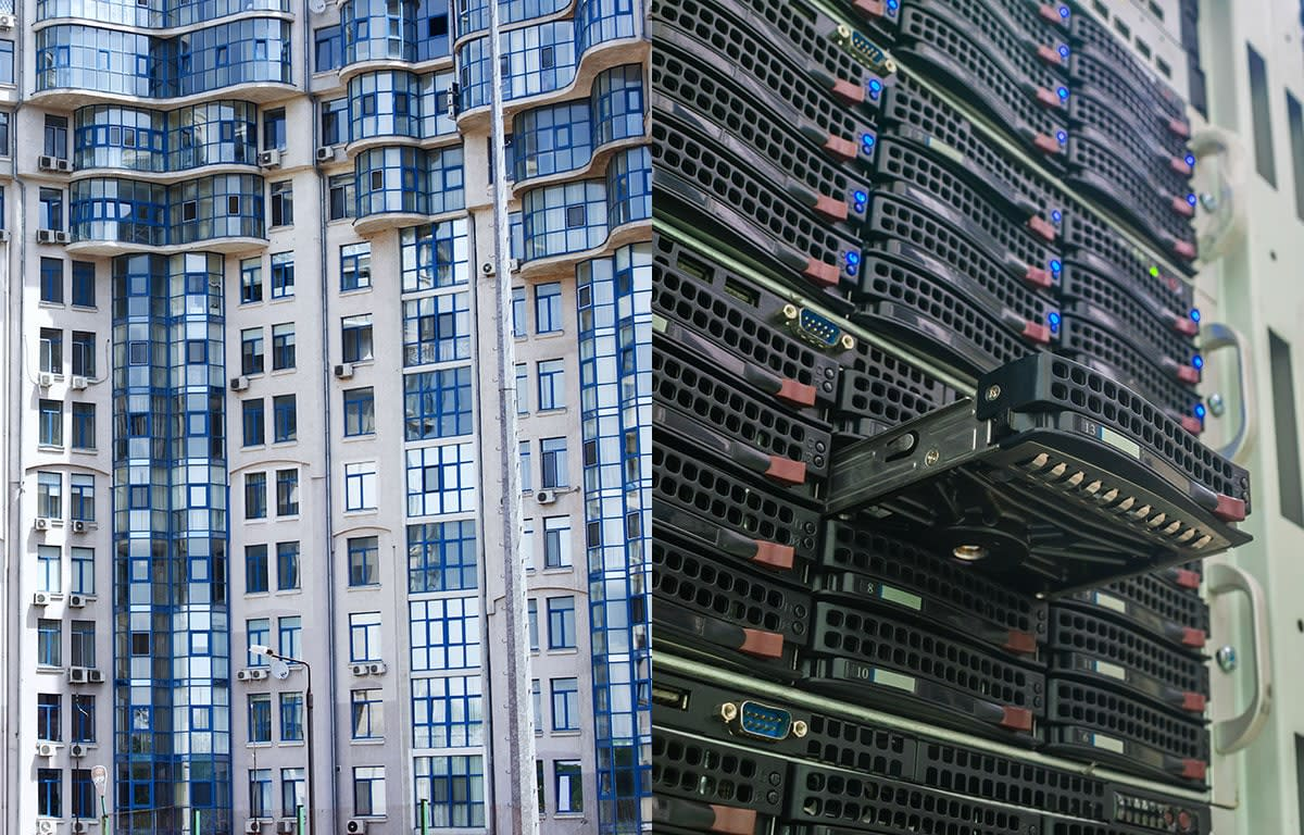 Split Screen Image of large apartment building on left, computer server on right.