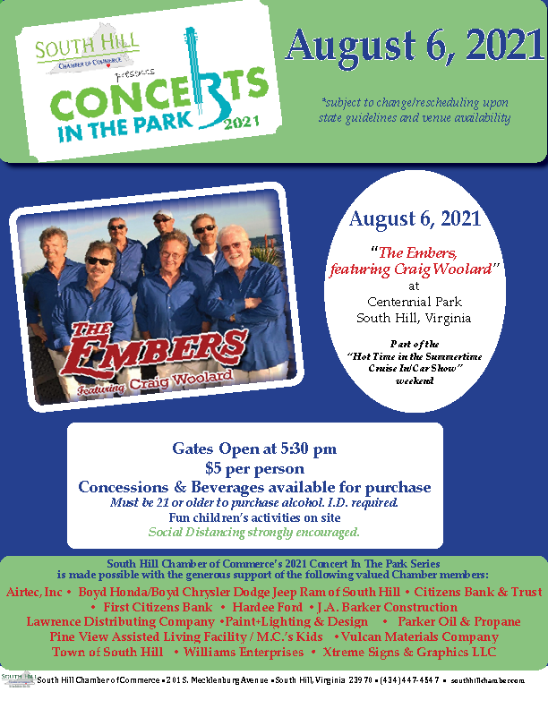 """Concerts in the Park 2021, with """"The Embers, featuring Craig Woolard""""!"""