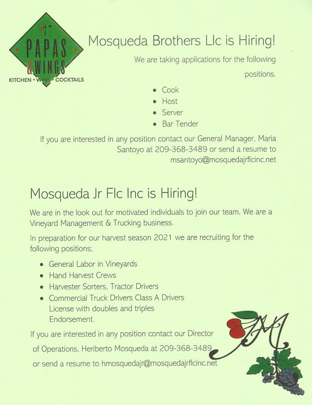 Papas & Wings / Mosqueda Brothers LLC / Mosqueda Jr Flc Inc hiring flyer - July 2 2021