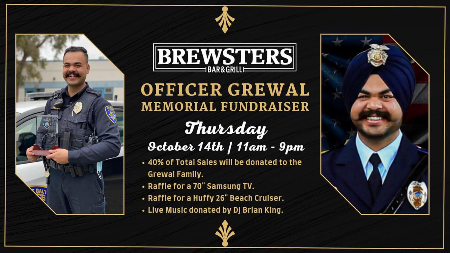 Officer Grewal Memorial Fundraiser at Brewsters, Thurs, 10/14/2021 from 11am to 9pm, 40% of profits donated to Grewal family
