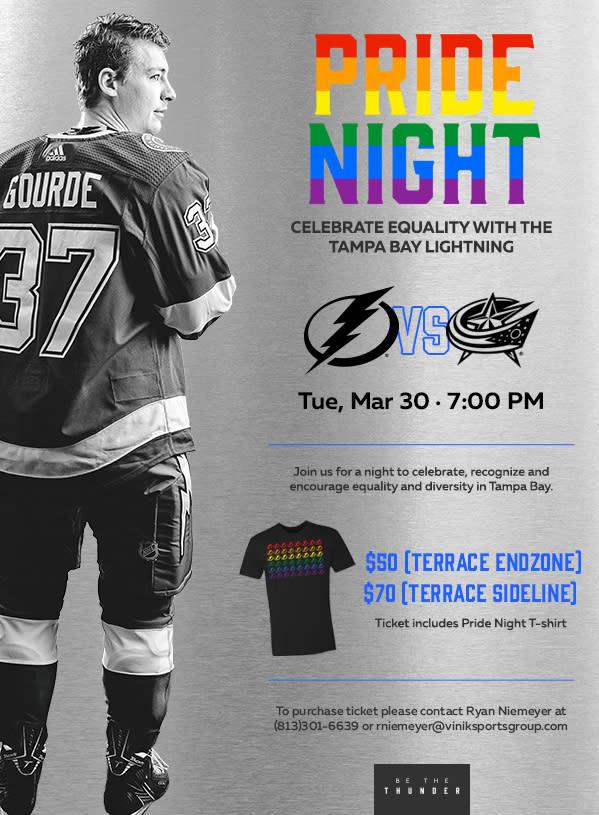Tampa Bay Lighting Pride Night, Pride Night, Rainbow, LGBT, Tampa Bay LGBT Chamber, Bolts, Hockey,