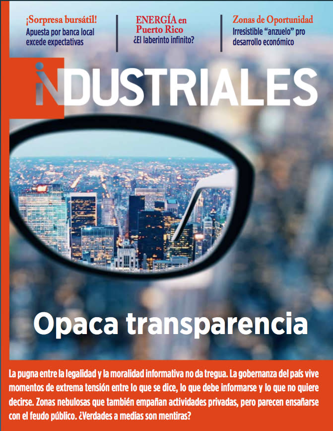 """Image with the cover of Industrial Magazine, Digital Edition # 3 titled """"Opaca transparencia""""."""