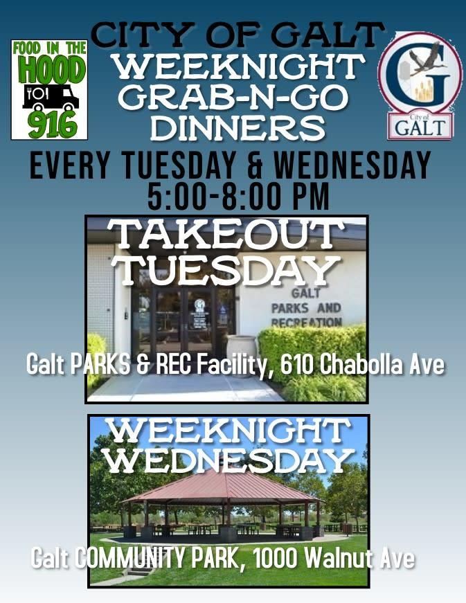 """Weeknight Grab-N-Go flyer for """"Take Out Tuesday"""" and """"Weeknight Wednesday"""""""