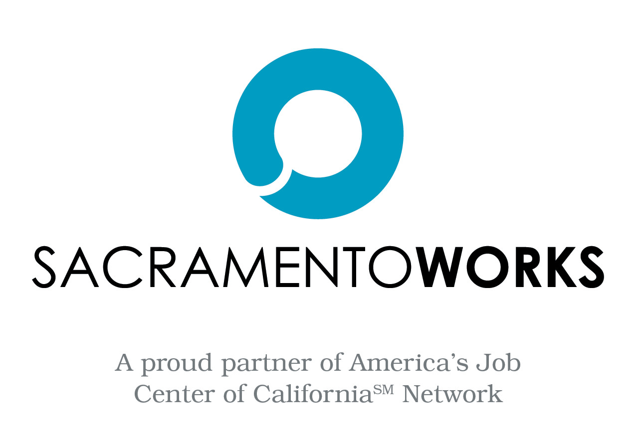 "Sacramento Works "" A proud partner of America's Job Center of California Network"" logo"