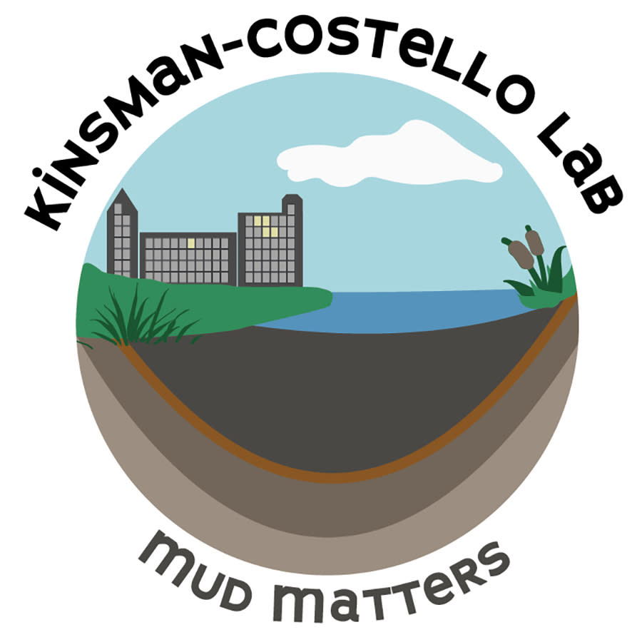 """illustration of buildings next to a wetland with mud underneath. says """"Kinsman-Costello Lab"""" and """"Mud Matters"""""""