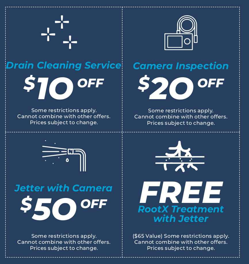 Drain Tech Coupons, $10 off Drain Cleaning Service, $20 off Camera Inpection, $50 off Jetter with Camera