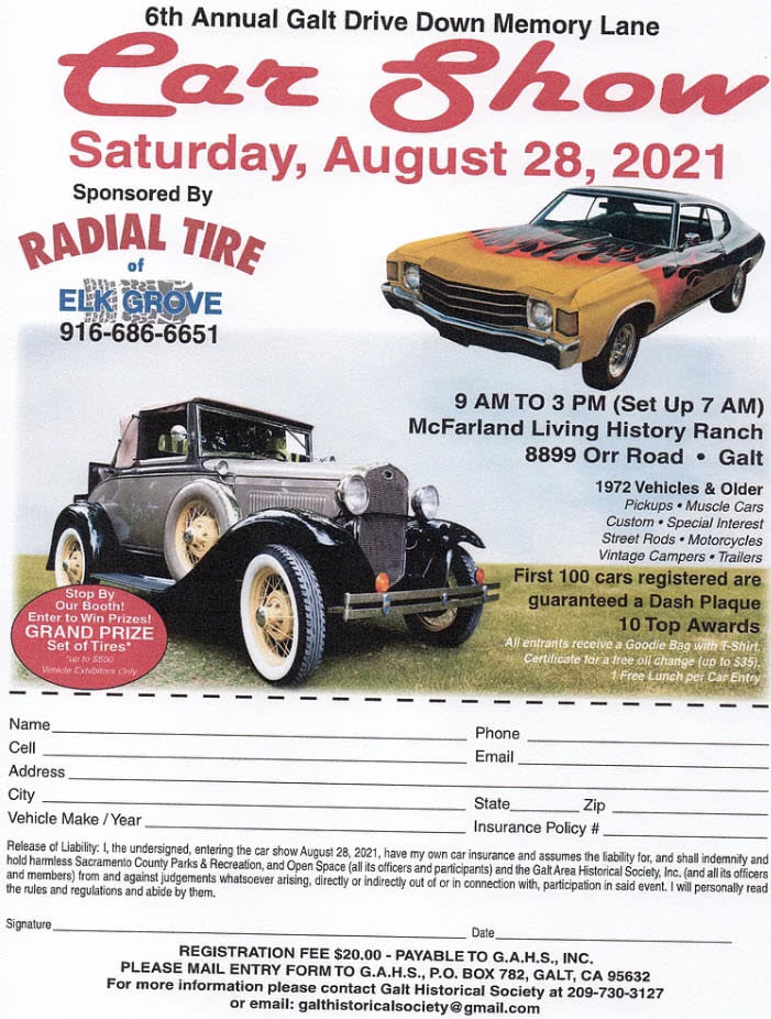6th Annual Car Show Flyer & Registration Card - August 28, 2021 from 9 am to 3 pm