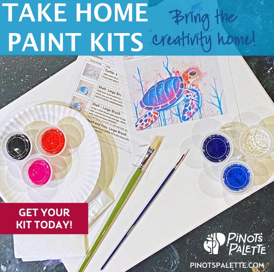 Take home painting Kits brought to you by Pinot's Palette Naperville